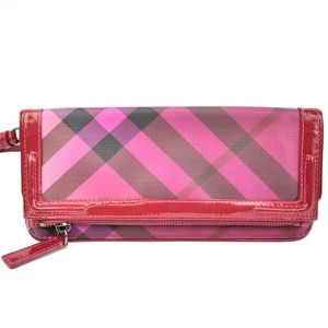 BURBERRY Berry Pink Leather & Nova Check Clutch qt